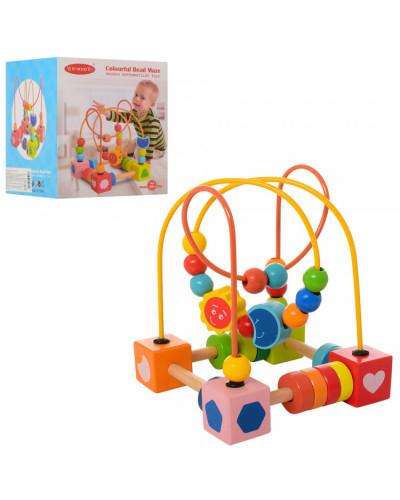 Деревянная игрушка Лабиринт MD 1242 на проволоке,17см, фигурки, в кор-ке, 15-15-17,5см