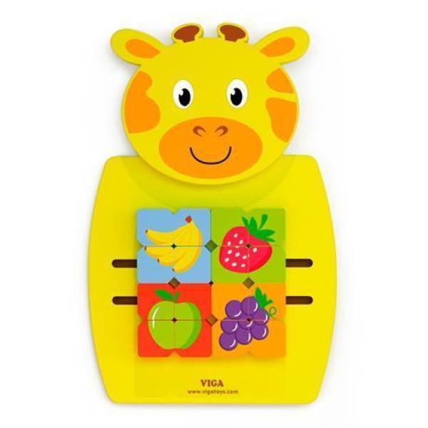"""Игрушка настенная Viga Toys """"Жираф с фруктами"""" (50680)"""